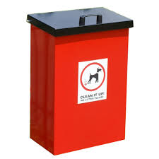 A picture of a red dog fowling litter bin.